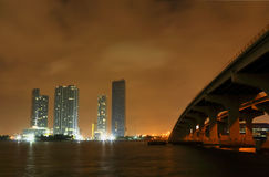 Miami City skyline at a stormy night Stock Photos