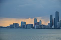 Miami city skyline, view from the container port. Miami city skyline, view from the cargo container ship berthed in the port of Miami royalty free stock images