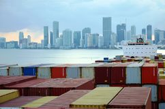 Miami city skyline, view from the container port. Miami city skyline, view from the cargo container ship berthed in the port of Miami royalty free stock photos