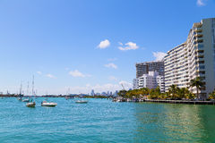 Miami city skyline from the waters of Miami Beach. Royalty Free Stock Photos