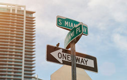 Miami city street sign Stock Photos