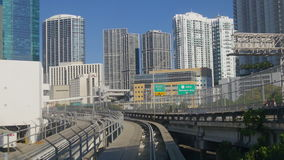 Miami city summer day downtown metro train ride 4k florida usa stock video