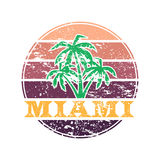 Miami colorful label. Colorful Miami label with text and palm silhouettes stock illustration