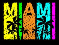 Miami colorful lettering with black palms trees. Travel postcard... vector illustration