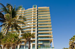 Miami condominium. Low angle view of condominium building with palm trees in foreground, Miami, Florida, U.S.A royalty free stock photos