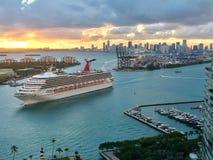 Port Miami, Dodge Island Cruise Port. Miami cruise port, Dodge Island, Miami, Florida, USA stock image