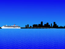 Miami with cruise ship Royalty Free Stock Photography