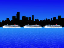Miami with cruise ships Stock Image