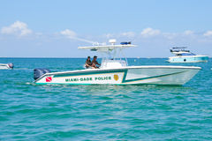 Miami-Dade Police boat on Biscayne Bay in Miami, Florida, USA Royalty Free Stock Image