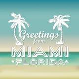 Miami design. Over blur background, vector illustration Stock Images