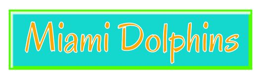 Miami Dolphins Throwback Team Banner. Classic themed orange, blue, and green Miami Dolphins team banner vector illustration