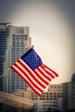Miami Downtown - American flag Royalty Free Stock Photos