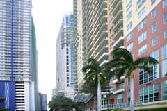 Miami downtown city with colorful buildings Royalty Free Stock Images