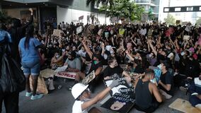 Miami Downtown, FL, USA - JUNE 12, 2020: Organization of protests in the USA after the George Floyd death. Protest Black
