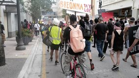 Miami Downtown, FL, USA - JUNE 12, 2020: Protests Against Killing Black People in the US Due to Police.