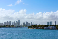 Miami downtown foggy skyline Miami Beach Royalty Free Stock Photos