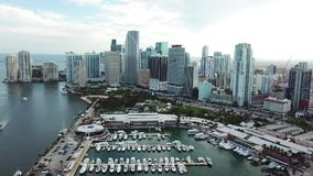 Aerial panorama of amazing skyscrapers and miami harbor ,sunny isles beach stock footage