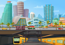 Miami Downtown Metro Rail Poster. Miami downtown city landmarks towers skyline and metro rail trains front view retro cartoon poster vector illustration vector illustration