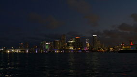 Miami downtown night light sunset sky panorama 4k usa. Usa miami downtown night light sunset sky panorama 4k stock video