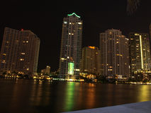 Miami downtown night scene Stock Photo