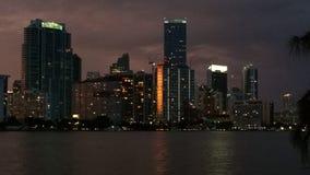 Miami downtown night. Miami downtown skyscraper at night stock image