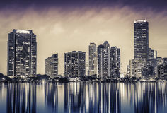 Miami downtown at night Stock Photography