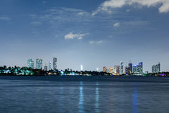 Miami downtown night view panorama Stock Photography