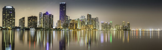 Miami downtown panorama by night Royalty Free Stock Photography