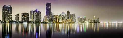 Miami downtown panorama at night Royalty Free Stock Image