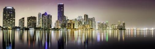 Miami downtown panorama at night royalty free stock image