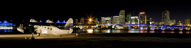 Miami Downtown Panorama with Seaplane Royalty Free Stock Photos
