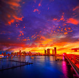Miami downtown skyline sunset Florida US Stock Images