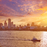 Miami downtown skyline sunset Florida US Stock Photos
