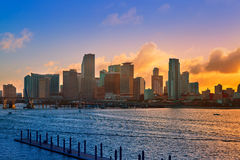 Miami downtown skyline sunset Florida US Stock Image