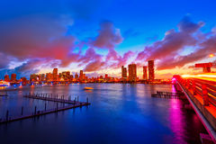 Miami downtown skyline sunset Florida US Royalty Free Stock Photos