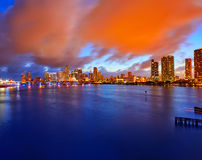 Miami downtown skyline sunset Florida US Royalty Free Stock Photo