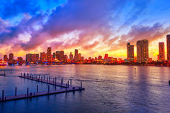 Miami downtown skyline sunset Florida US Royalty Free Stock Images
