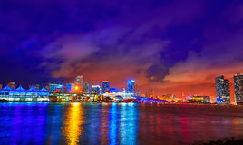 Miami downtown skyline sunset Florida US Stock Photography