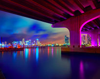 Miami downtown skyline sunset Florida US Royalty Free Stock Image