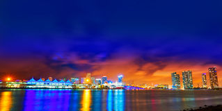Miami downtown skyline sunset Florida US Stock Photo