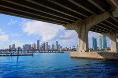 Miami downtown skyline  under bridge Florida Stock Photo