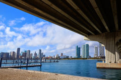 Miami downtown skyline  under bridge Florida Royalty Free Stock Photo
