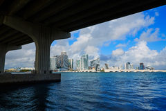 Miami downtown skyline  under bridge Florida Royalty Free Stock Images