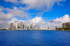 Miami downtown sunny skyline in Florida USA Stock Image