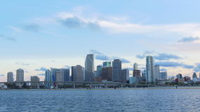 Miami downtown sunset sky water front city panorama 4k usa. Usa miami downtown sunset sky water front city panorama 4k stock footage