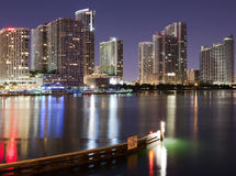 Miami Downtown view. Downtown Miami night view from Venetian Way stock images