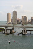Miami Draw Bridge. Downtown Miami Skyline stock image