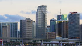 Miami dusk sunset sky downtown center panorama 4k usa. Usa miami dusk sunset sky downtown center panorama 4k stock video footage