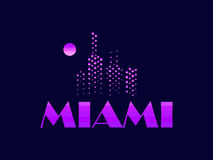 Miami, emblem in the style of the 80s. Points symbolize the skyscrapers. Vector. Illustration Stock Photo