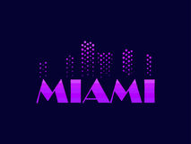 Miami, emblem in the style of the 80s. Points symbolize the skyscrapers. Vector. Illustration Stock Photos